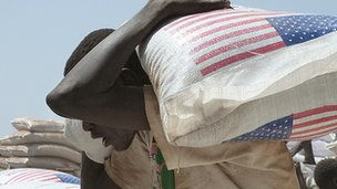 Aid arriving at a refugee camp on the border in South Sudan