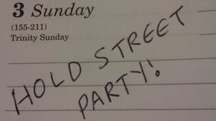 Diary with reminder to hold street party