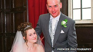 Geraint and Louise Jones on their wedding day