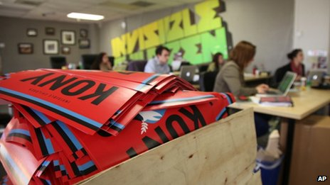A box full to the brim with KONY 2012 campaign posters at Invisible Children&#039;s HQ