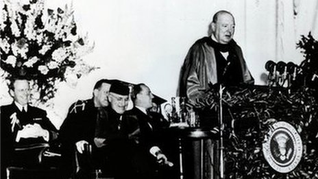 Winston Churchill on the podium at Westminster College, in Fulton, Missouri