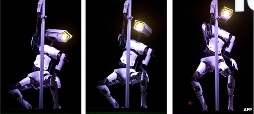 One of Tobit Software's pole-dancing robots