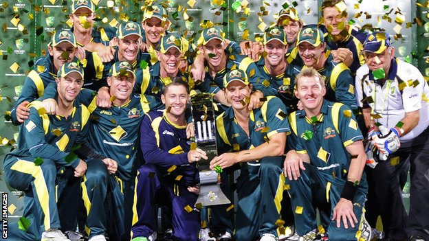 Australia celebrate with the tri-series trophy