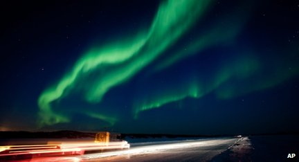 Displey of northern lights in Canada