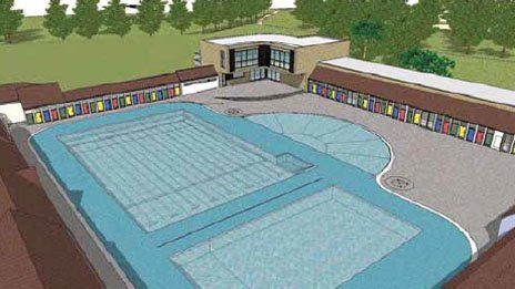 Artist's impression of a redeveloped Pontypridd lido