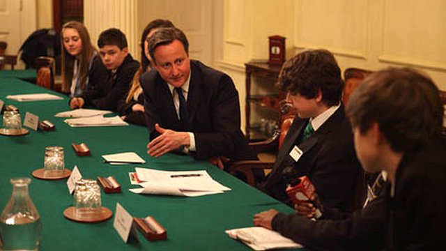 David Cameron with the School Reporters in Downing St