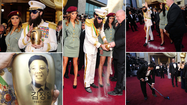 Sacha Baron Cohen, in character as a Middle Eastern leader, spills what he claims are the ashes of former North Korean leader Kim Jong-Il on the red carpet at the 2012 Oscars ceremony (photos: AFP/Getty/Reuters)