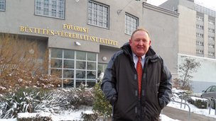 Mark Turner outside the prison in Hungary