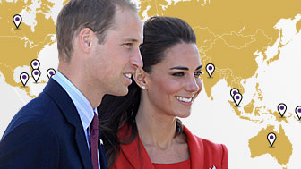 Duke and Duchess of Cambridge and map of the world