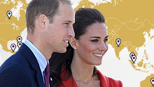 Duke and Duchess of Cambridge with world map