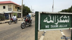 An Islamic signboard is seen along a road in the north-eastern state of Borno 29 June 2011