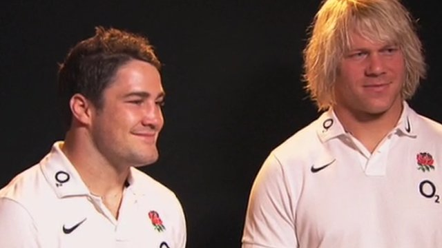 Englands Brad Barritt (left) and Mouritz Botha