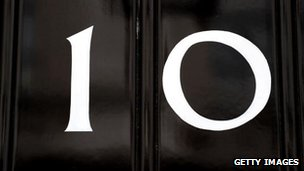 Door number painted on 10 Downing Street