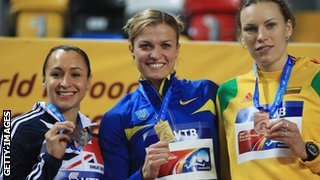 Silver medallist Jessica Ennis of Great Britain, gold medallist Natallia Dobrynska of Ukraine and bronze medallist Austra Skujyte of Lithuania