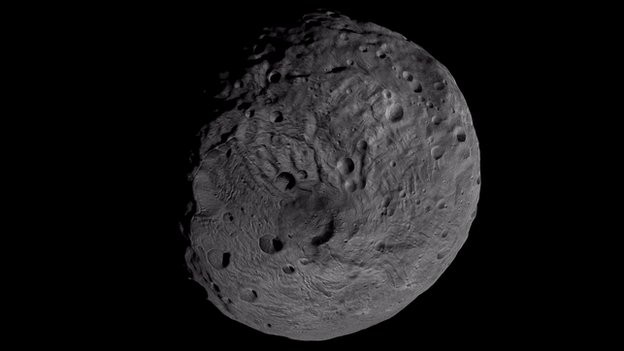 The south pole of the giant asteroid Vesta, as imaged by the framing camera on Nasa's Dawn spacecraft in September 2011  NASA/JPL-Caltech/UCLA/MPS/DLR/IDA