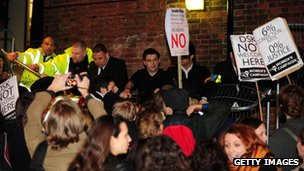 Demonstrators outside Cambridge Union
