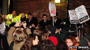 Demonstrators outside Cambridge Union