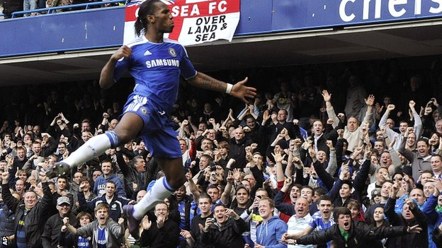 Drogba celebrates his 100th Premier League goal