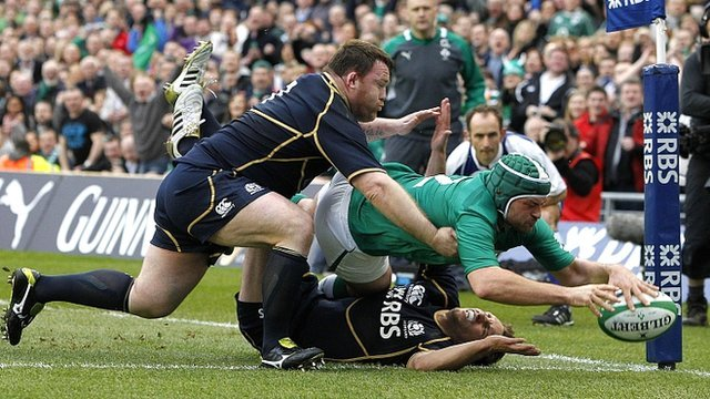 Ireland's Rory Best scores a try against Scotland