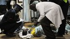 Injured person arrives at Kenyatta hospital, Nairobi.