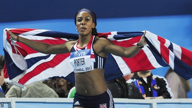Great Britain's Tiffany Porter celebrates her second place in the Women's 60m Hurdle Final during the IAAF World Indoor Championships