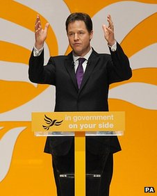 Lib Dem leader Nick Clegg addressing delegates at the Spring conference