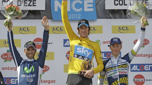 Alejandro Valverde, Bradley Wiggins and Lieuwe Westra on the podium
