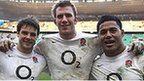 Ben Foden, Tom Croft and Manu Tuilagi