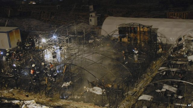 Burned-out remains of tents on construction site, Istanbul