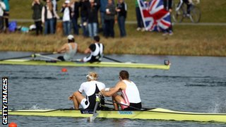 Andy Triggs Hodge and Pete Reed on their way to winning the men's pair final on Sunday