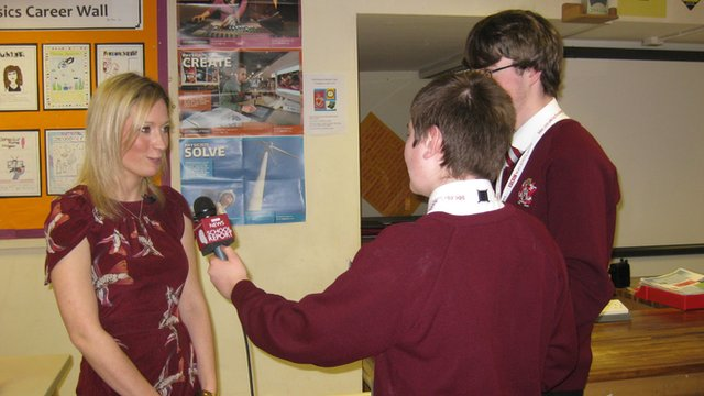 Will and Oliver, from St Aidan's School, interview BBC science correspondent Sarah Cruddas