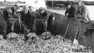 Men unloading sprats in 1935