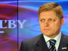 Slovak premier-elect Robert Fico during a TV broadcast on 11 March 2012