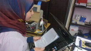 School Reporter Faten reads her report in Beirut