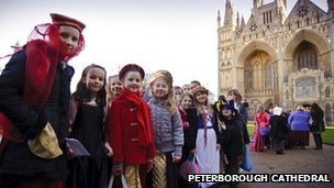 Children taking part in the Katharine of Aragon Festival 2012, Peterborough Cathedral