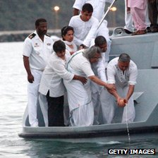 Ashes of Mahatma Gandhi's ashes scattered at sea off Durban in 2010