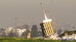 An Israeli missile is launched from the Iron Dome missile system in the city of Ashdod in response to a rocket launch from the nearby Palestinian Gaza Strip on 11 March 2012