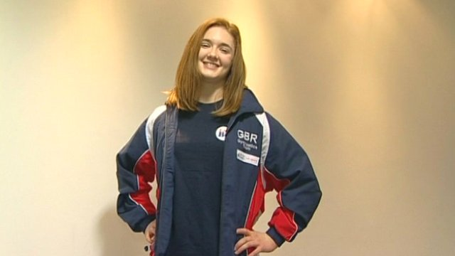 Jenni Pinches, from King's School in Macclesfield, poses in her athletics gear