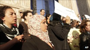 Samira Ibrahim at a women's demonstration in Cairo last week