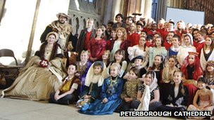 Re-enactors and school children, Katharine of Aragon Festival, Peterborough Cathedral 2012