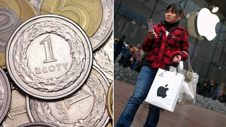 Some Polish coins (l) and a woman walking out of an Apple shop (r). THINKSTOCK/Reuters