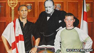Painting depicting Rio Ferdinand, Winston Churchill and Wayne Rooney