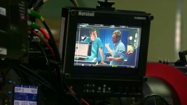 Camera monitor during filming of Casualty