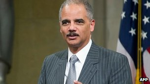 US Attorney General Eric Holder delivers remarks at the Department of Justice in Washington, DC, 12 March 2012