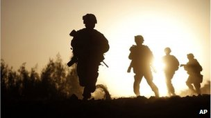 US Marines run for new cover in Nawa district, Helmand province, file image