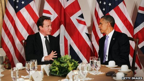 David Cameron (left) and Barack Obama at UN General Assembly in New York City on 21 September 2011
