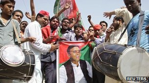 Akhilesh Yadav supporters celebrate his appointment as chief minister