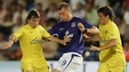 Duncan Ferguson is tackled by Villarreal's Josico and Gonzalo