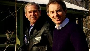 President George W Bush and Tony Blair in February 2001