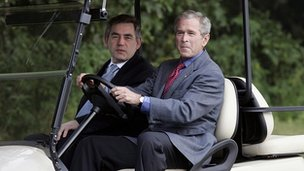UK prime minister Gordon Brown with President Bush in 2007